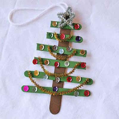Motivos decorativos para navidad con palos de polo - Decoracion de arboles navidenos para ninos ...