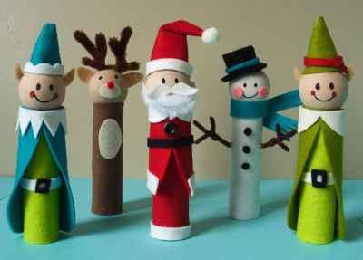 Adornos navideños con rollos de papel1