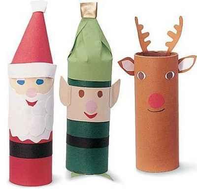 Adornos navideños con rollos de papel6