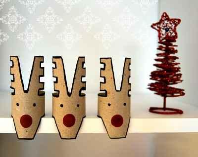 Adornos navideños con rollos de papel7